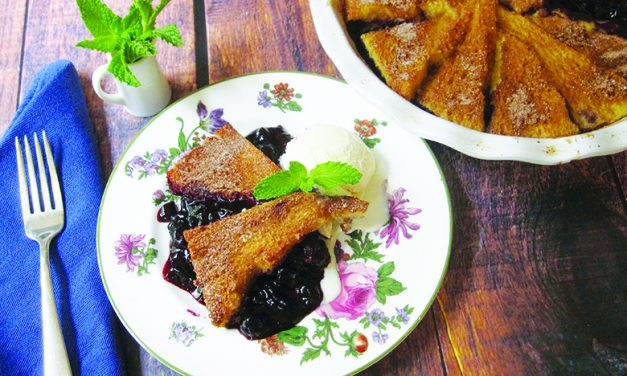 Serve blueberry pie with a cinnamon French toast crust