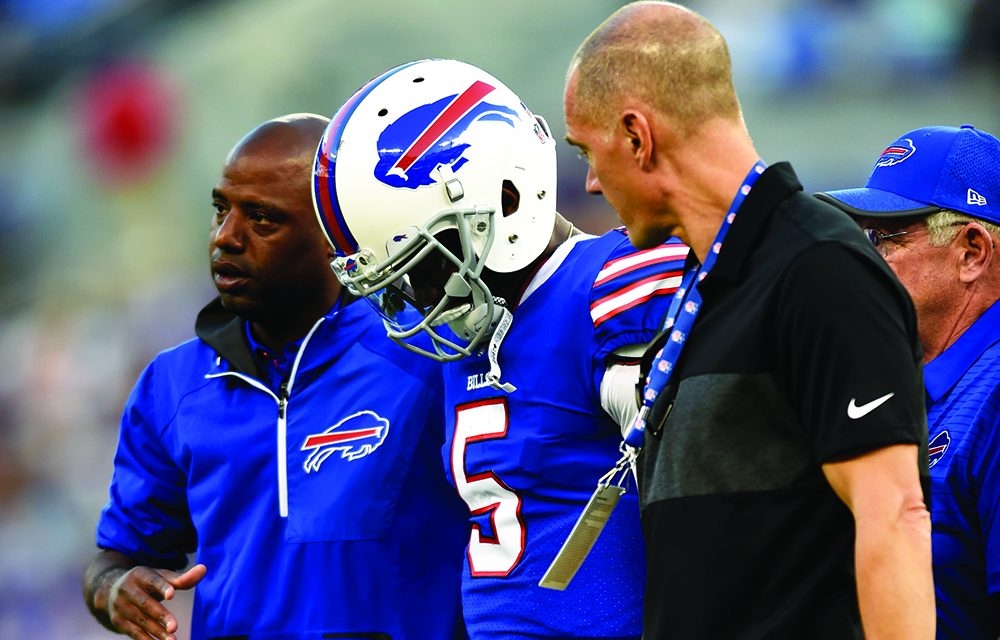 Bills QB Taylor returns to practice; not yet cleared to play