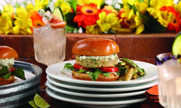 Shrimp burgers and herbed gin and tonics